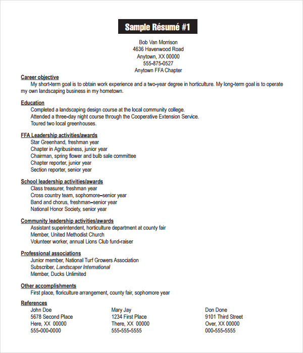 Resume Templates  Free Word Pdf Documents Download
