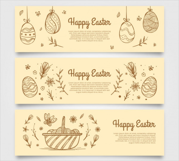 Banners Sketches of Easter Eggs Free Download
