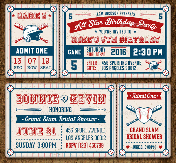 Baseball Party Invitation Template