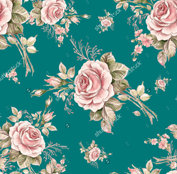 Watercolor Seamless Pattern of Flowers
