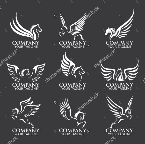 Set of Pegasus Logo Templates