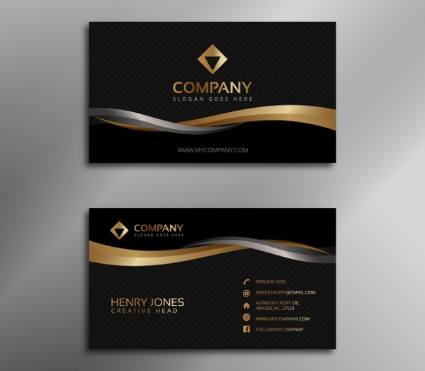 Black and Gold Business Card Free Download