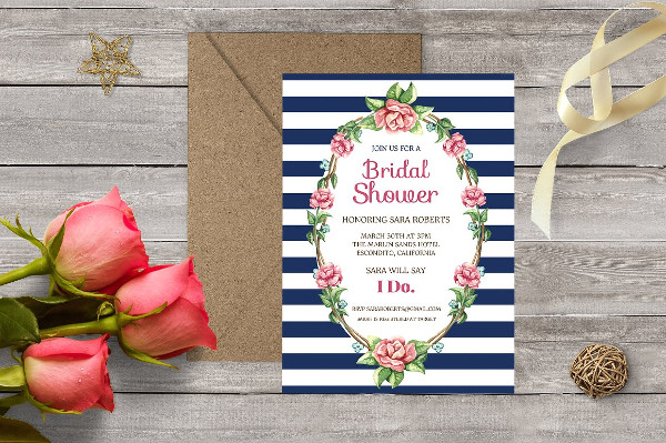 Bridal Shower Invitation Card with Flowers Blossom