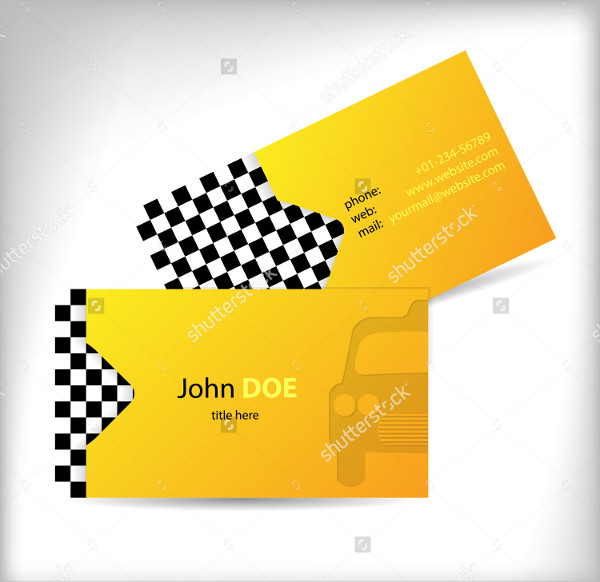Two-Sided Taxi Business Cards Design