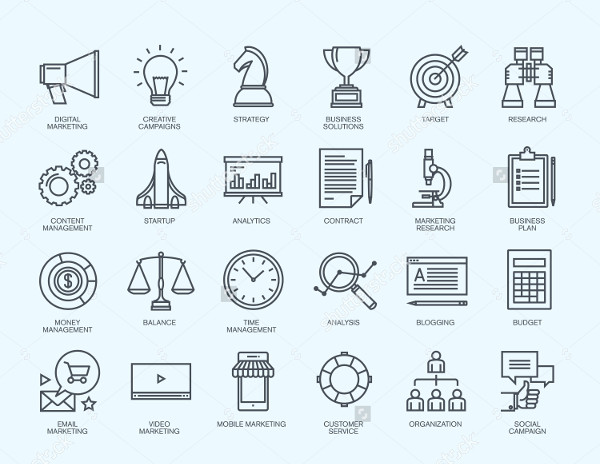 Thin Line Icons Business & Digital Marketing