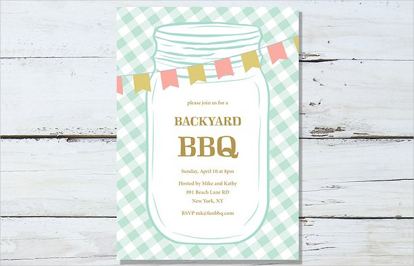 Clean BBQ Party Invitation Template