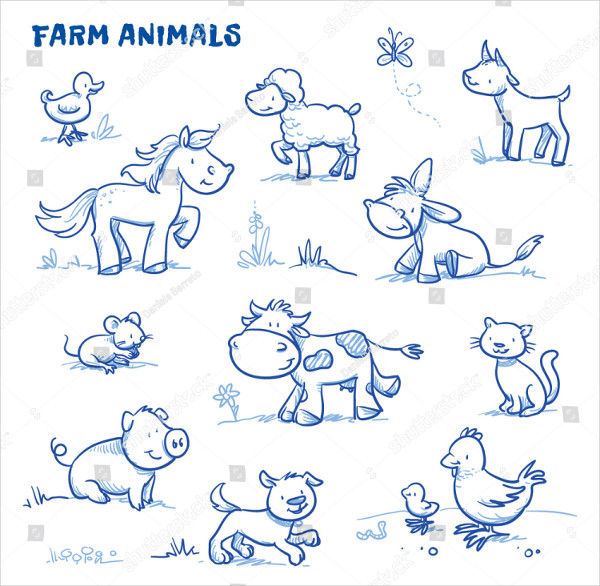 Cute Cartoon Farm Animals Drawing