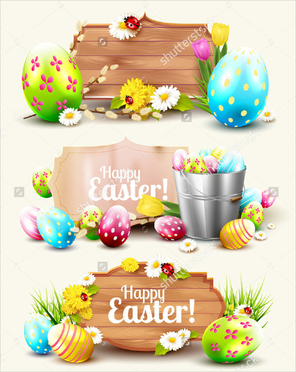 Set of Easter Headers and Banners with Elements