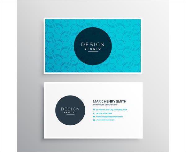 Elegant Blue Pattern Business Card Free