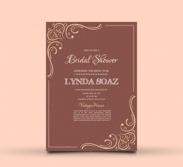 Free Bridal Shower Invitation with Ornamental Decoration