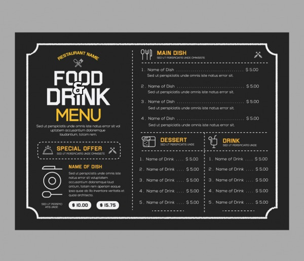 Free Download Food U0026 Drink Menu Template  Drinks Menu Template