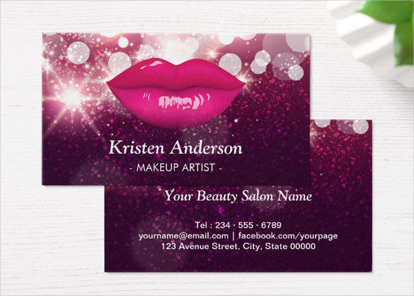 Beauty Salon Makeup Artist Business Card Template