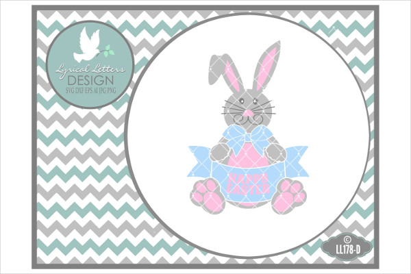 Happy Easter Bunny Holding Banner