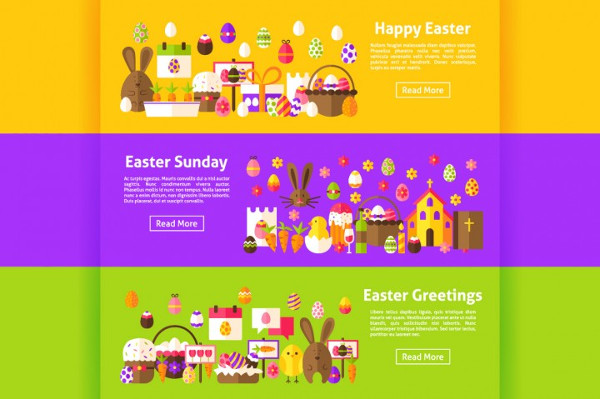 Happy Easter Flat Banners