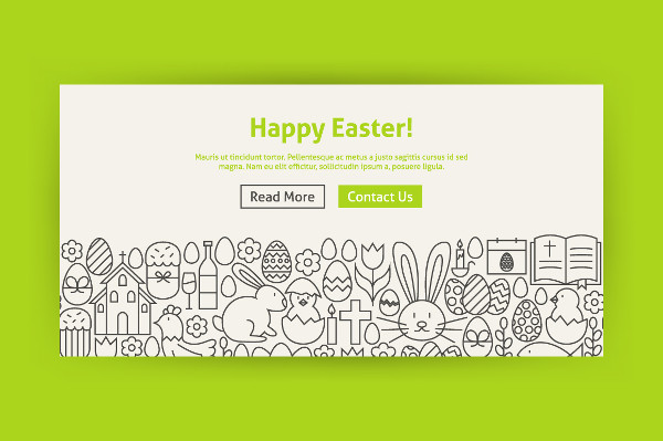Happy Easter Line Art Web Banners