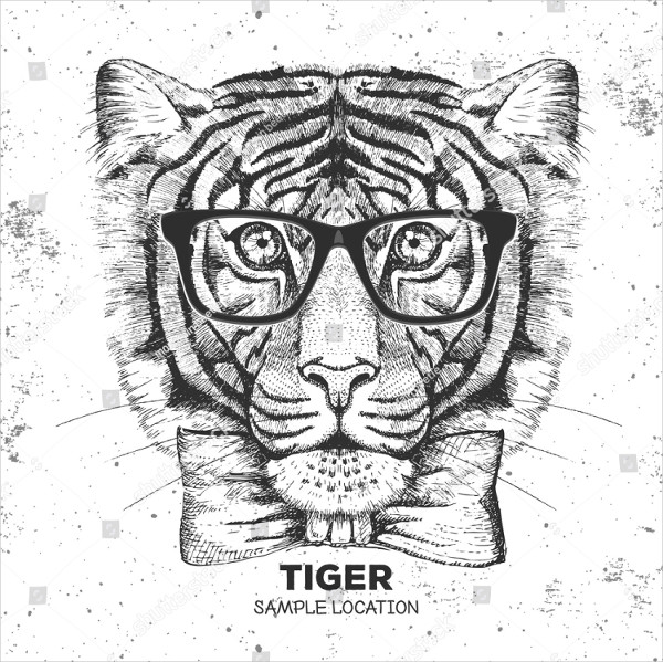 Hipster Animal Tiger Drawing