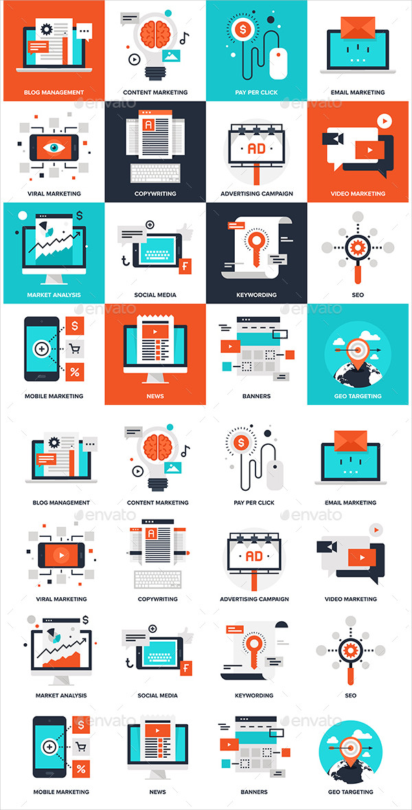 Flat Digital Marketing Icon Collection