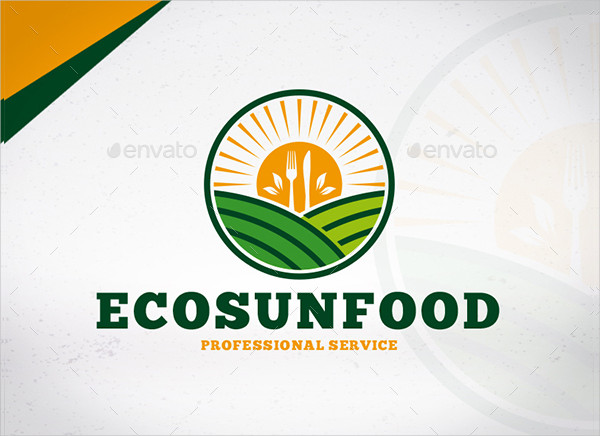 Modern Eco Sun Food Services Logo Template