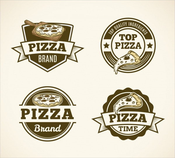 Pack of Vintage Pizza Logos Free Vector