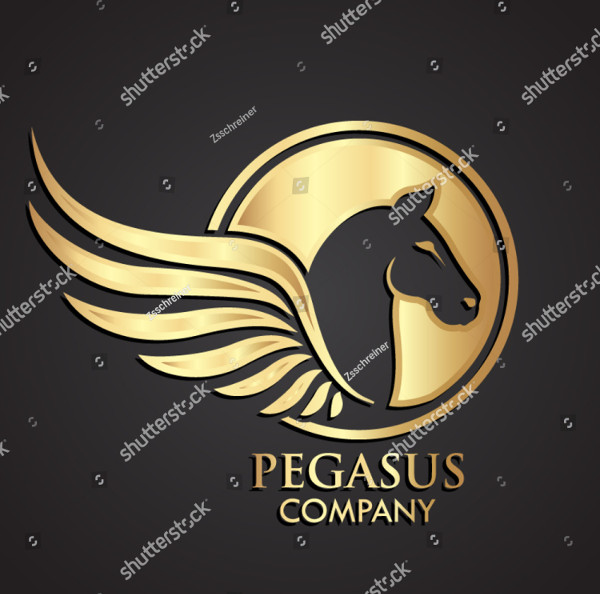 Pegasus Negative Shape Logo Template
