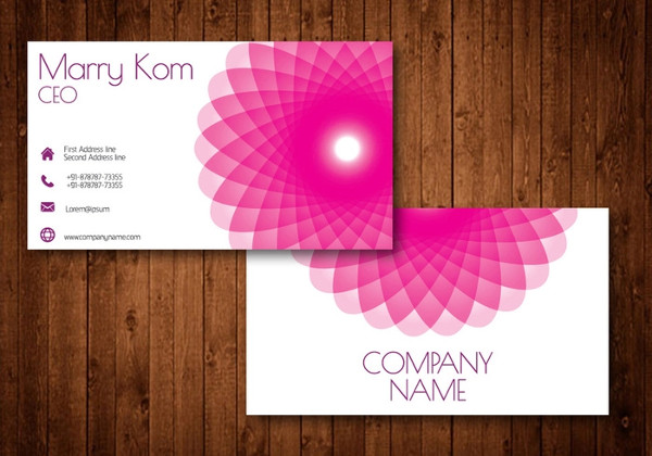 Pink Abstract Flower Free Business Card