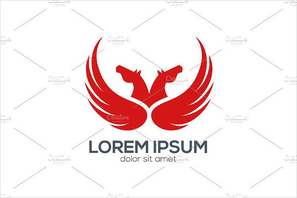 Red Pegasus Design Logo Template