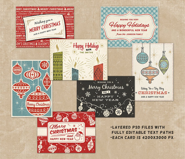 Retro Style Christmas Greeting Cards