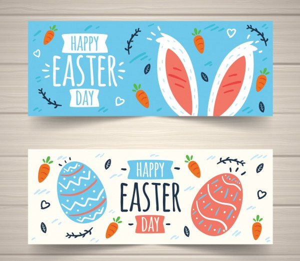 Set of Easter Day Banners Free Download