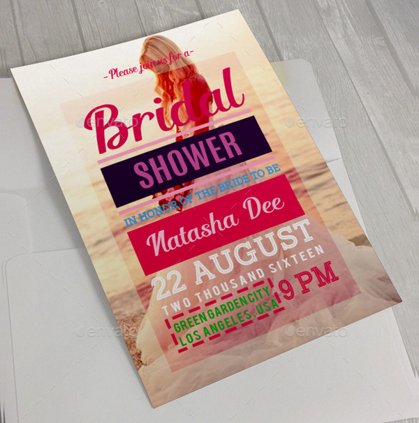Simple Bridal Shower Invitation Card Template