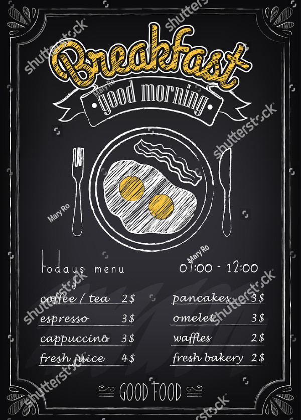Vintage Breakfast Poster Or Menu Template  Breakfast Menu Template