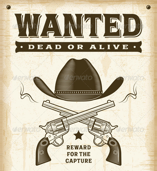 Vintage Western Wanted Posters in Woodcut Style