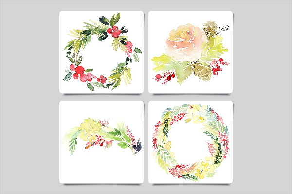 Watercolor Christmas Greeting Card Templates