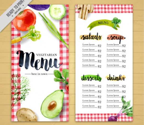 23 restaurant menu templates free psd ai eps format download watercolor vegetarian restaurant menu free pronofoot35fo Choice Image