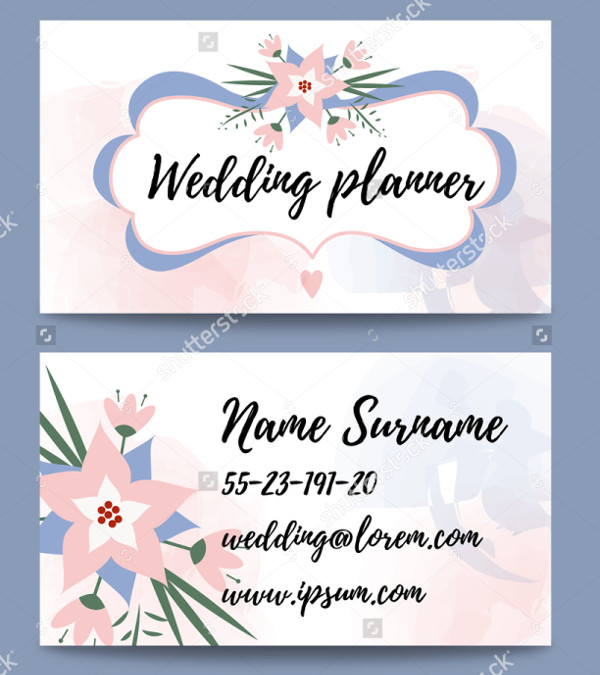 Floral Wedding Planner Business Cards