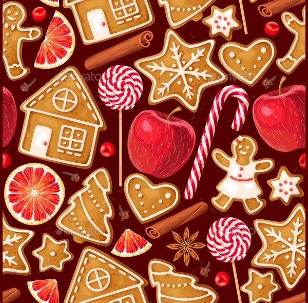 Winter Seamless Pattern with Gingerbread Cookies