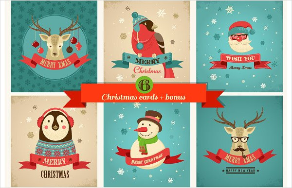 Xmas Hipster Greeting Card Templates