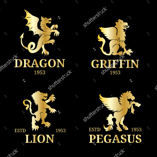 Luxury Pegasus or Dragon Logo Template
