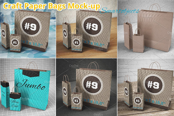 3 Shopping Paper Bags Mockup