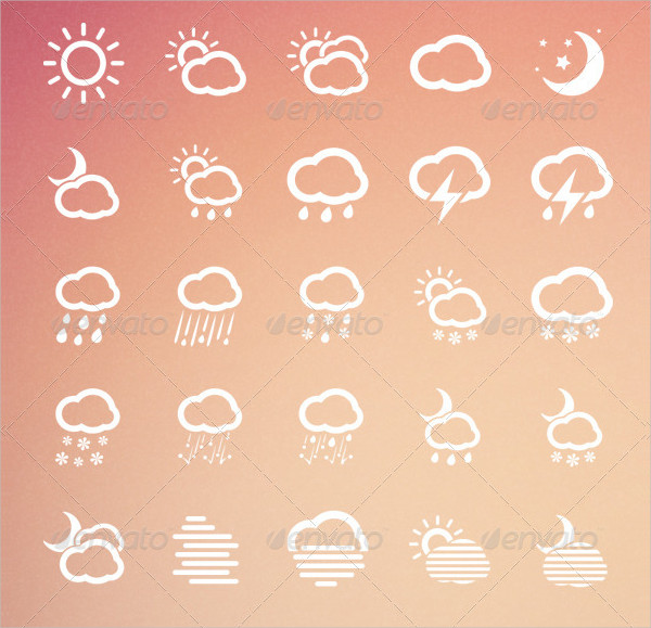 55 Clean Weather Icons
