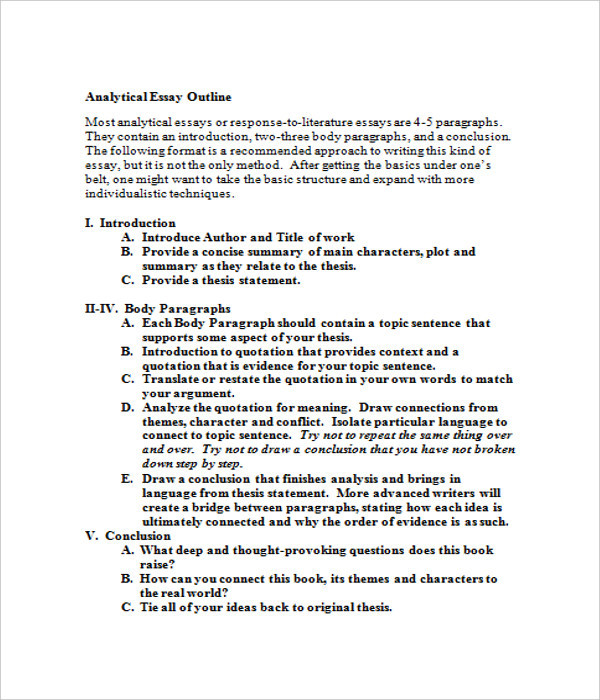 analytical essay template - Response To Literature Essay Format