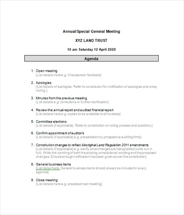 annual corporate minutes template free - 6 business agenda templates free word pdf documents