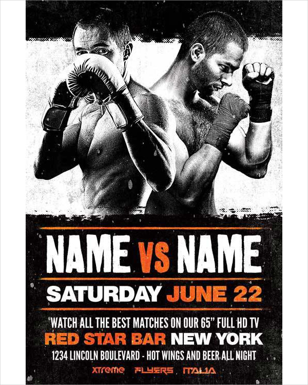 Boxing Sports Event Free Flyer Template