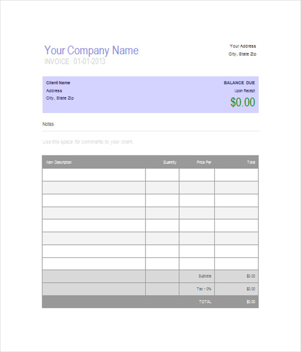 Invoice Blank. Sample Bill Format In Word Download Blank-Computer