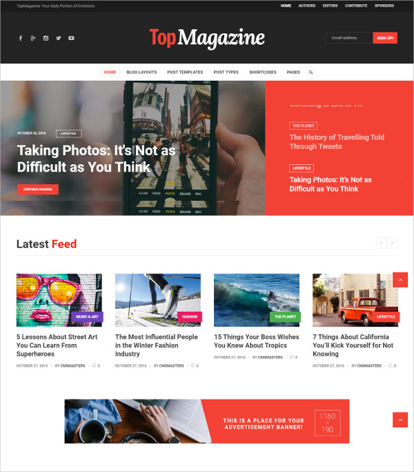 Celebrity, Magazine & News WordPress Theme $59
