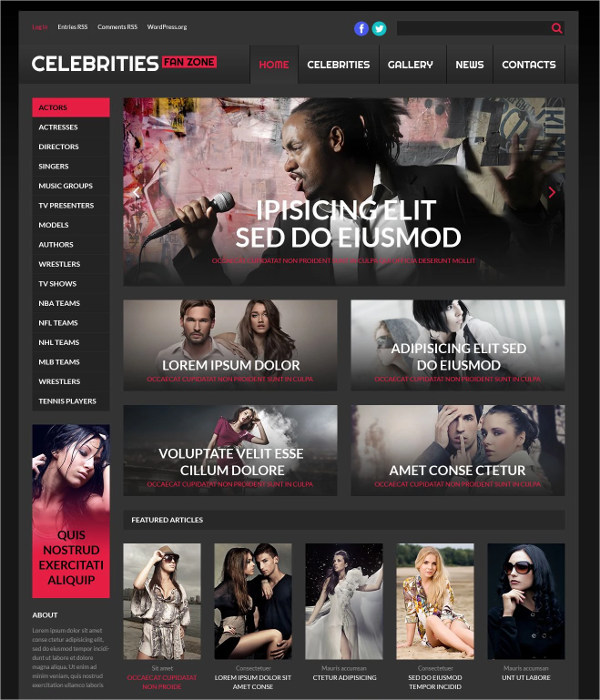 Celebrity WordPress Theme for Online Cinema $75