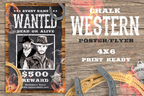 Chalk Western Wanted Flyer or Poster Template