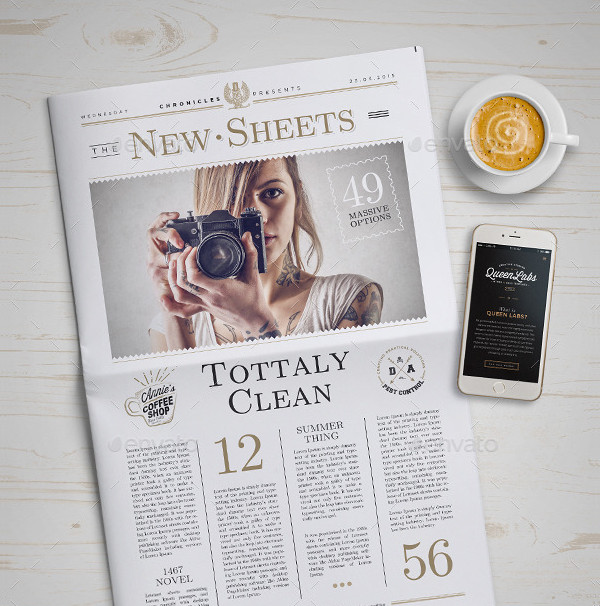 Clean Newspaper Presentation Mockup