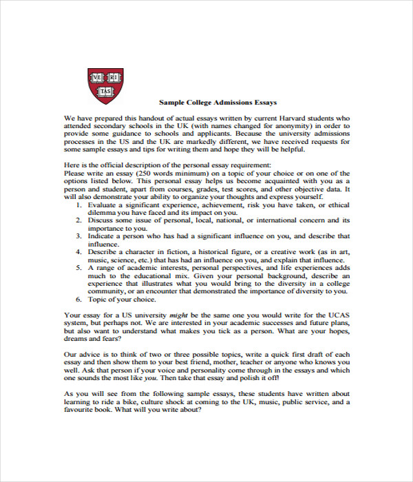 college essay template