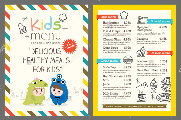 Delicious Kids Menu Template Vector