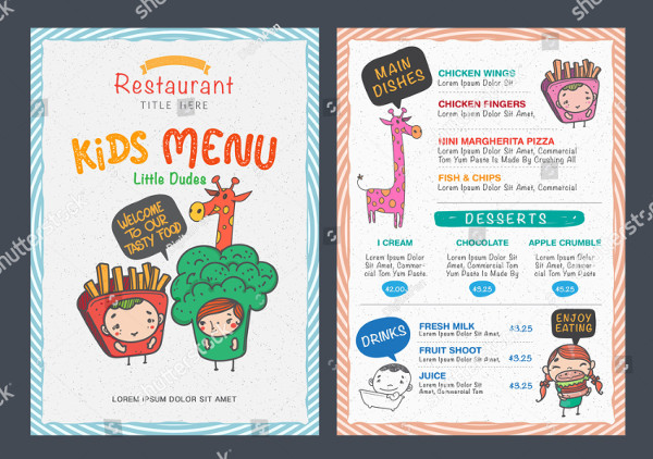 Cute Kids Menu Template Vector